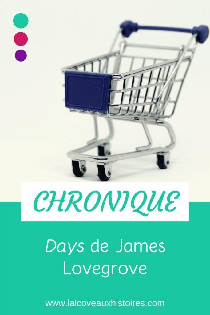 """Pin """"Chronique - Days de James Lovegrove"""". Photo d'un petit cadie de courses bleu."""