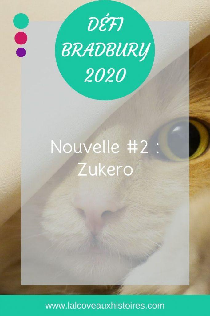 """Pin """"Défi Bradbury 2020 - Nouvelle #2 : Zukero"""". La photo est un gros plan d'une tête de chat au pelage doré, dont l'œil droit est caché par un tissu -comme s'il se cachait sous une nappe."""