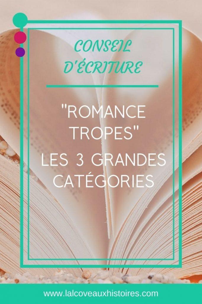 """Pin : """"Romance tropes"""" les 3 grandes catégories. Gros plan d'un livre dont les pages centrales forment un cœur."""