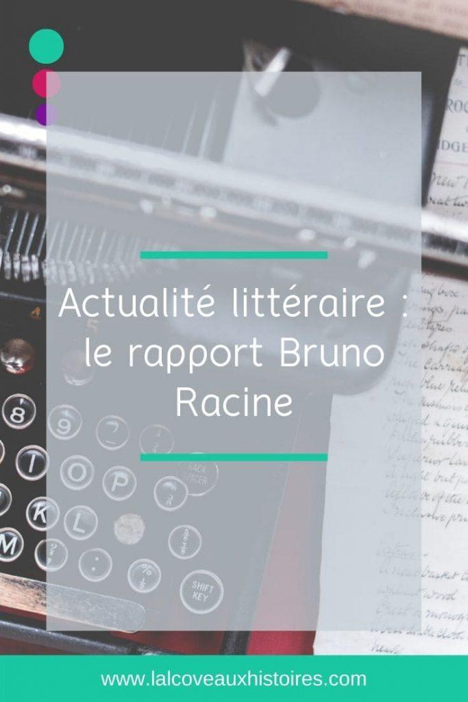 """Pin """"Actualité littéraire : le rapport Bruno Racine"""". Photo en arrière-plan d'une machine à écrire vintage."""""""