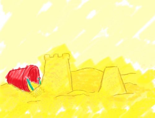 Illustration d'un château de sable avec un seau rouge à côté.